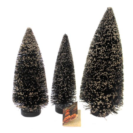 Halloween SPOOKY BOTTLE BRUSH TREES Bottle Brush Gold Glass Glitter St/3 Sn7397](St James Halloween Event)