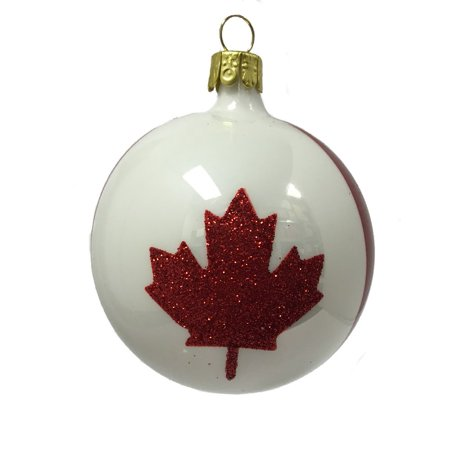Red and White Canada Ball Czech Glass Christmas Ornament ...