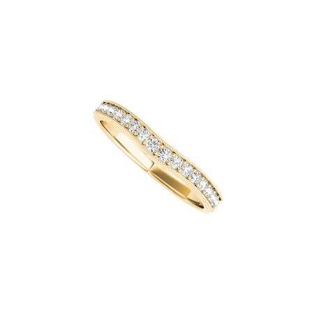 Curved CZ Wedding Band for Women in 14K Yellow Gold - image 1 de 2