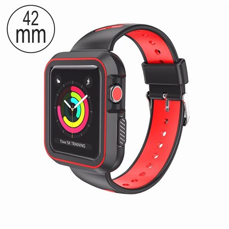 Blackred Silicone Sport Watchband With Case For Apple Watch 42mm Apple Watch Series 2 42mm Apple Watch Series 3 42mm This Package Contains One Blackred Silicone Sport Watchband With Case For Apple Watch 42mm Apple Watch Series 2 42mm Apple Watch Series 3 42mm