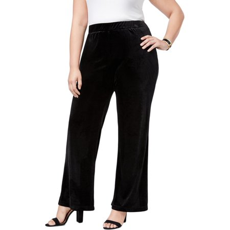 NY Collection Womens Plus Velvet Night Out Wide Leg (Plush Velvet Pant)