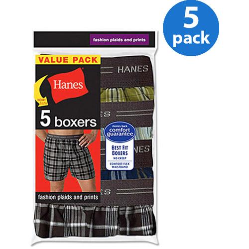 Hanes Men's FreshIQ Comfort Flex Exposed Waistband Plaid Boxer 5-Pack