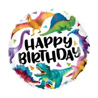 "18"" Happy Birthday Dinosaur Colorful  Packaged Balloon"