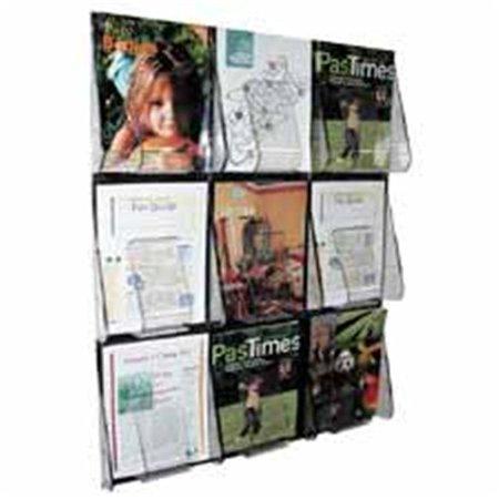 Nine Pocket Magazine Rack - Deflect-O Corporation DEF56801 Magazine Wall Rack- 9 Pocket- 27-. 38inchx2-. 88inchx35-. 25inch- Clear