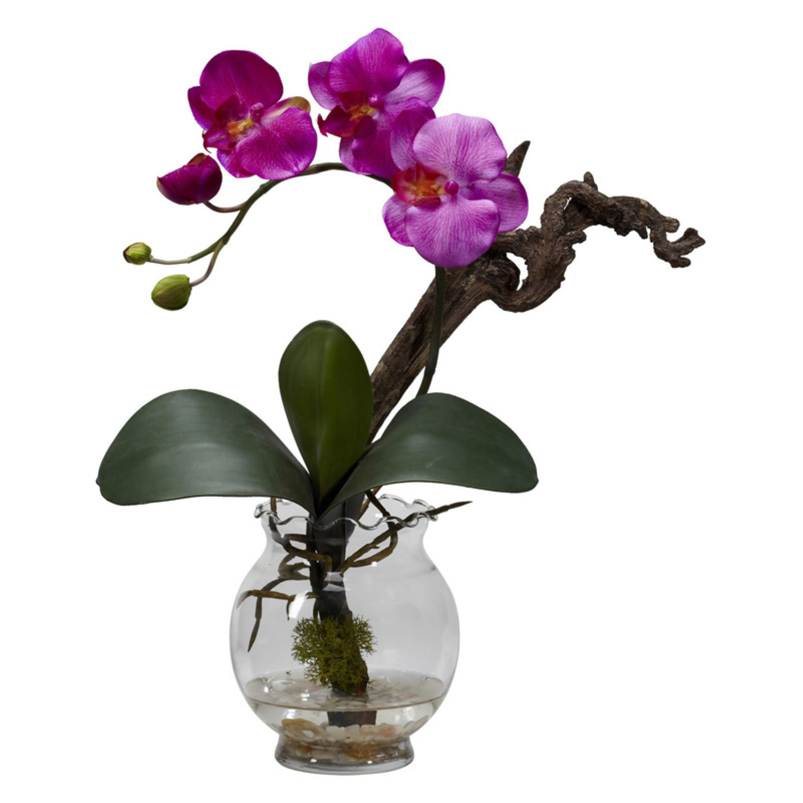Nearly Natural Mini Phalaenopsis Silk Flower Arrangement with Fluted Vase, Purple