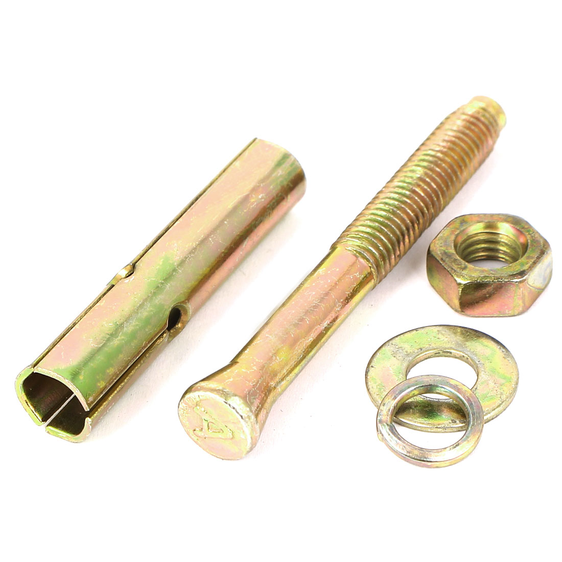 M8x70mm Yellow Zinc Plated Iron Hex Nut Anchor Expansion Sleeve Bolt Screw 6pcs - image 2 of 3