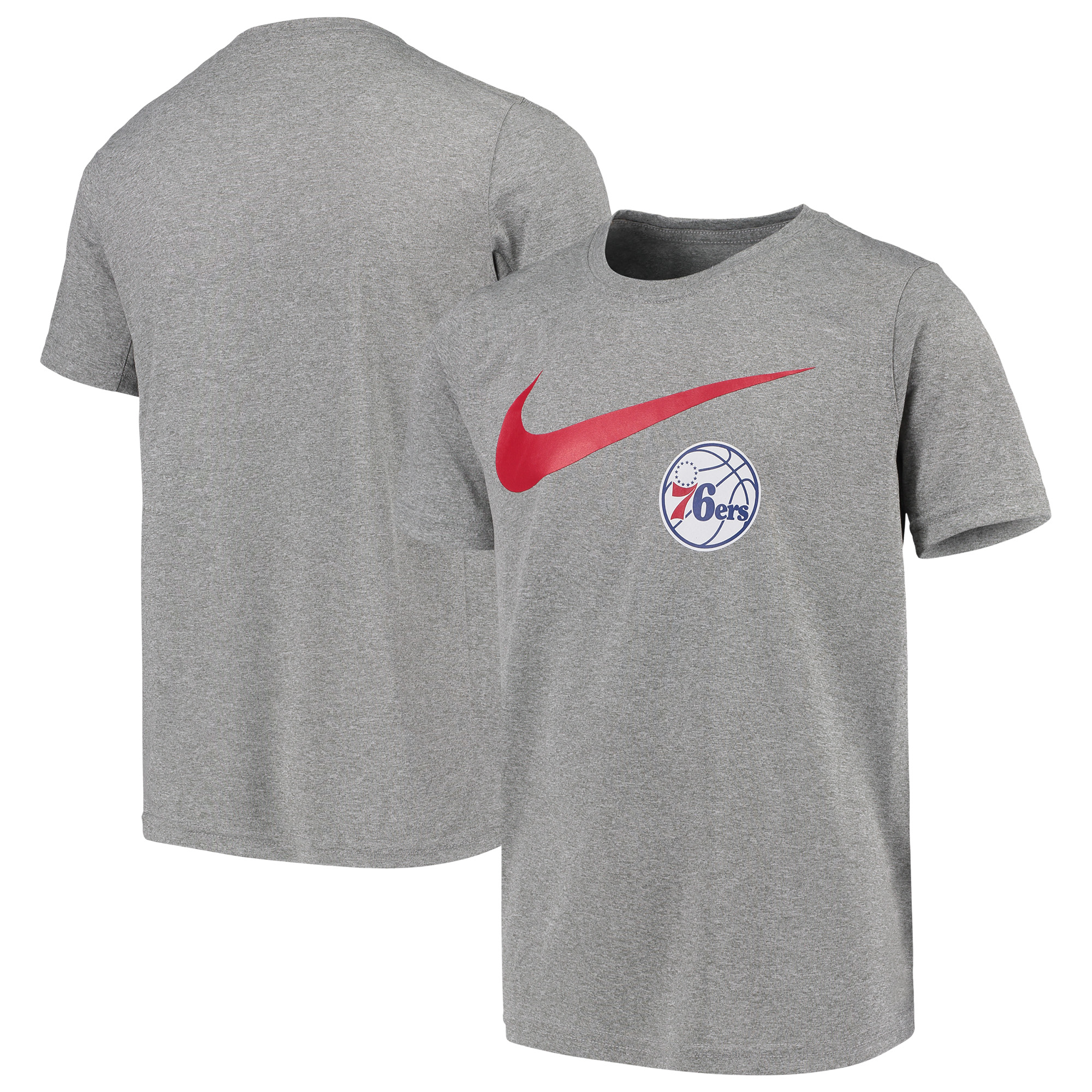 Philadelphia 76ers Nike Swoosh Logo Legend T-Shirt - Heathered Gray