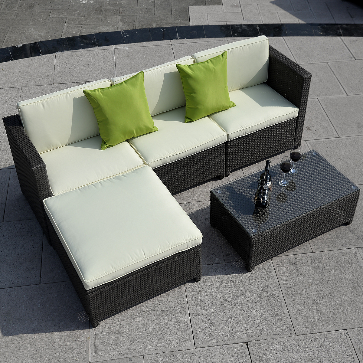 Costway 5pc Outdoor Patio Sofa Set Sectional Furniture Pe Wicker Rattan Deck  Couch Brown   Walmart.com