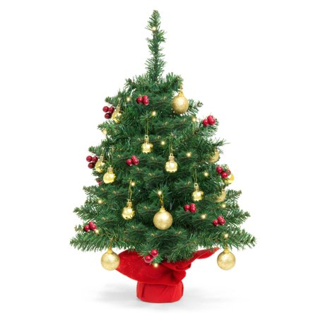 Best Choice Products 22in Pre-Lit Battery Operated Tabletop Mini Artificial Christmas Tree Decor w/ UL-Certifed LED Lights, Red Berries, Gold Ornaments -