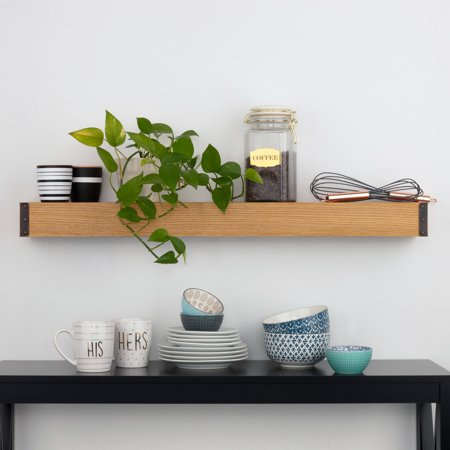 Reclaimed Wood Vintage Industrial Floating Ledge Shelf with Bronze Riveted Corners, 36