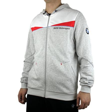 Puma BMW Hoodie Hooded Sweat Jacket - Light Gray Heather - Mens
