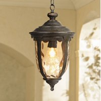 "John Timberland Rustic Outdoor Ceiling Light Bronze 18"" Hammered Glass for Exterior Entryway Proch"