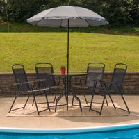 Flash Furniture Nantucket 6 Piece Black Patio Garden Set with Table, Umbrella and 4 Folding Chairs