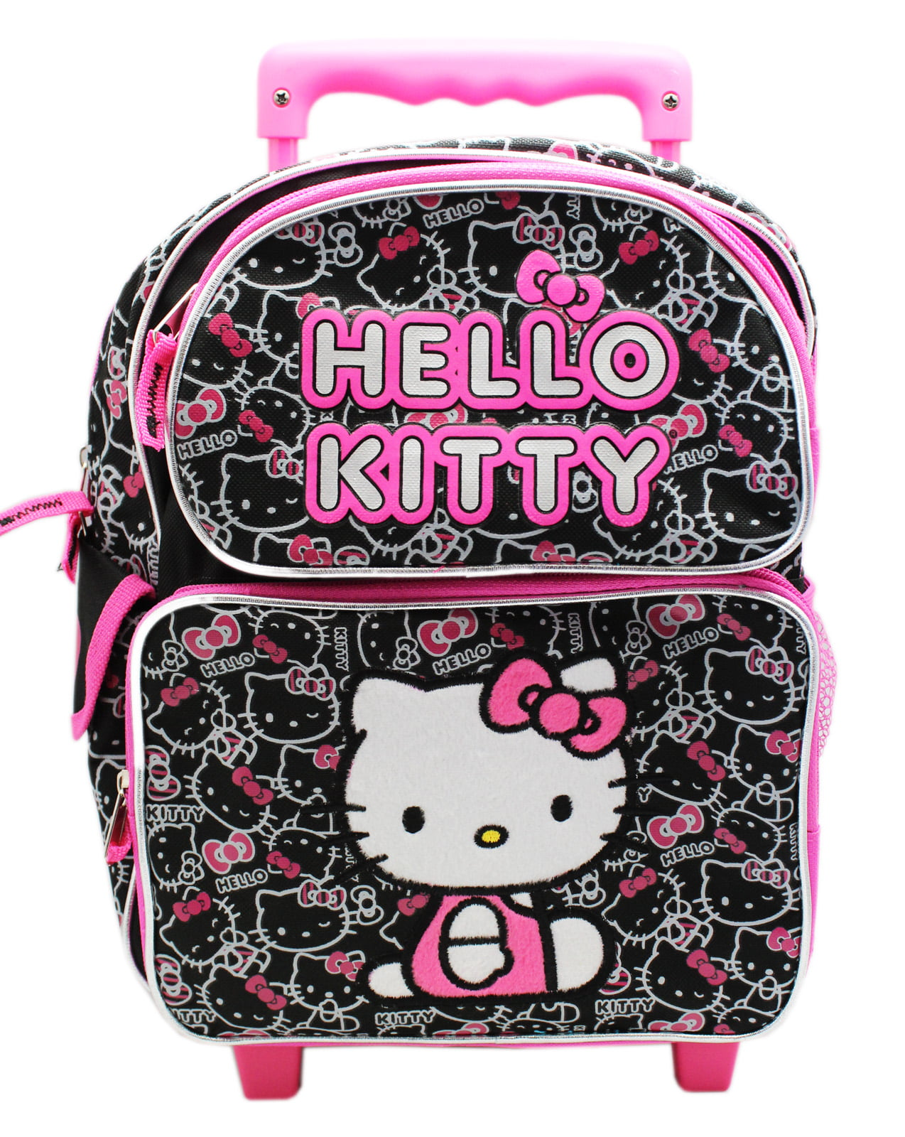 1331b88adbd6 Sanrio - Hello Kitty Pink Black Face Pattern Preschooler Rolling Backpack  (12in) - Walmart.com