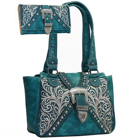 Gold Rush BT922SET-TQ Western Concealed Embroided Purse with Matching Wallet - Turquoise