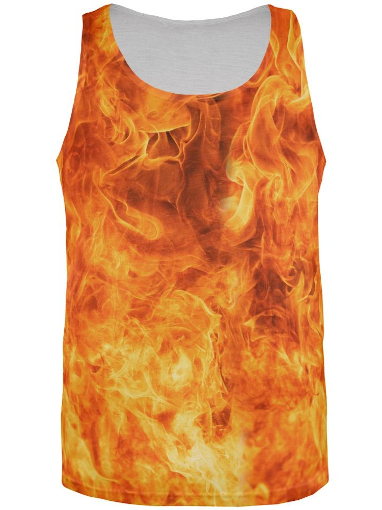 Flames All Over Adult Tank Top