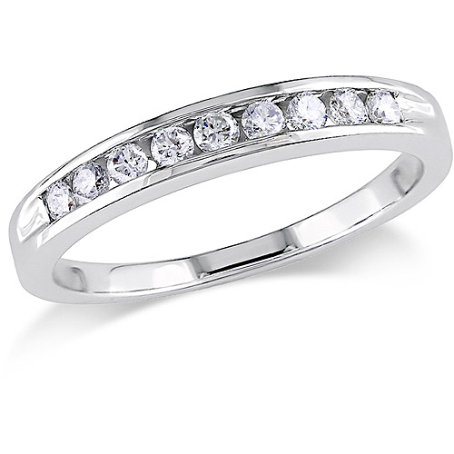 Miabella 1/4 Carat T.W. Diamond 14kt White Gold Semi-Eternity Anniversary Ring