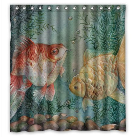 GreenDecor Unique Goldfish Art Waterproof Shower Curtain Set with Hooks Bathroom Accessories Size 66x72 inches