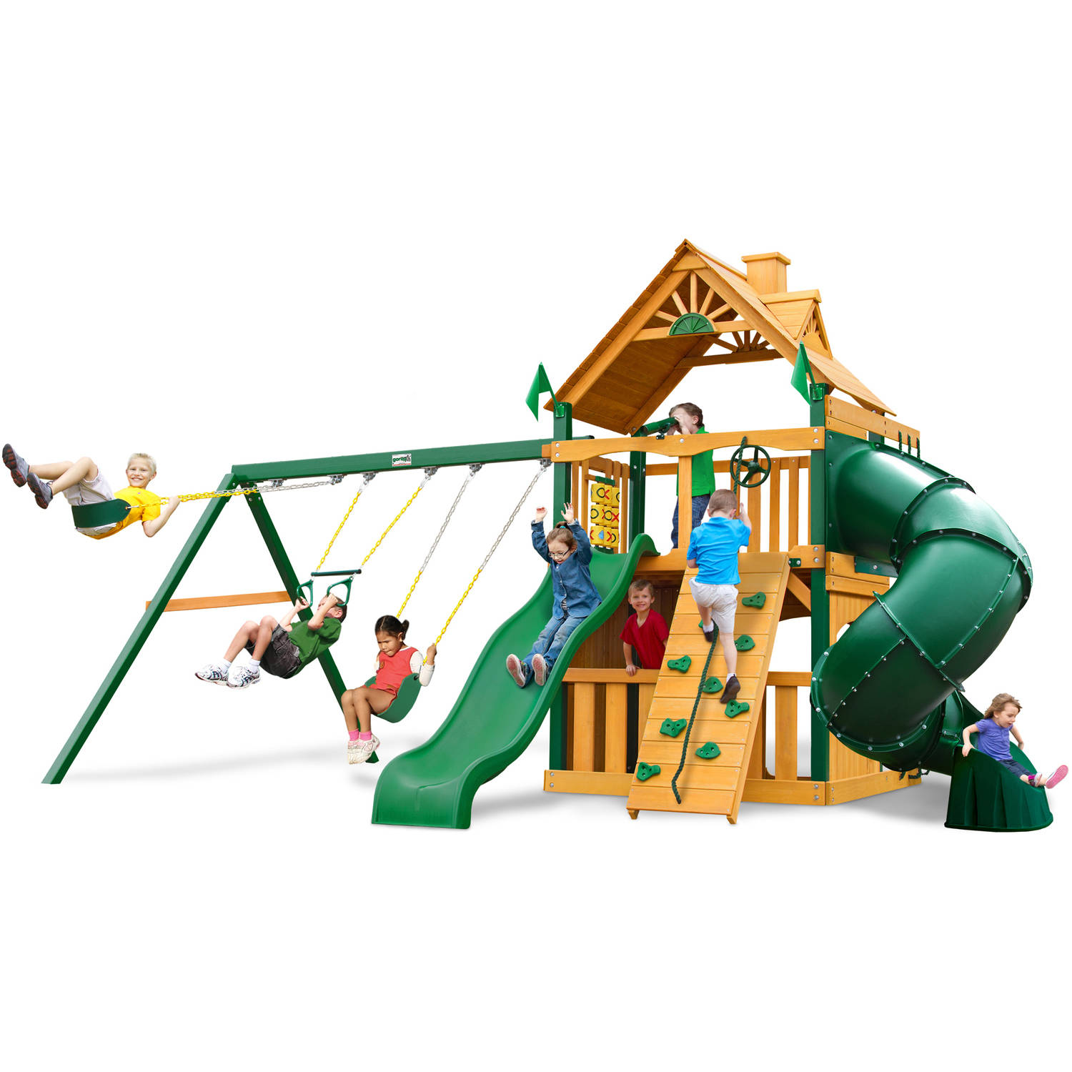 Gorilla Playsets Mountaineer Clubhouse Wooden Swing Set