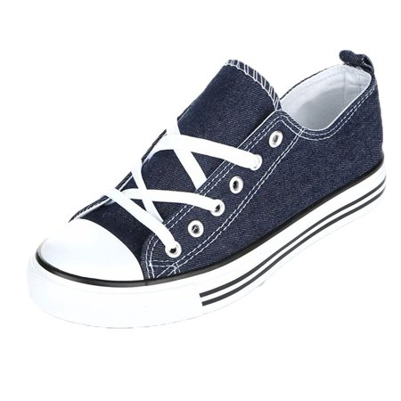 Women's Casual Canvas Shoes Solid Colors Low Top Lace Up Flat Fashion Sneakers