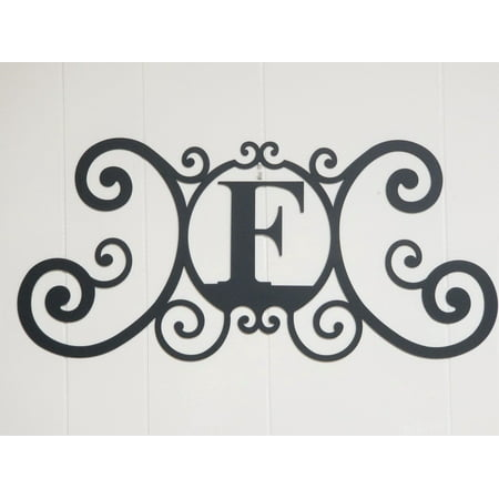 Wrought Iron Metal Scrolled Monogram Personalized Initial Letter F Wall Decoration Plaque
