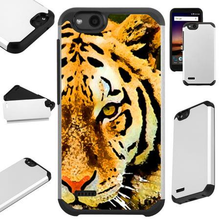 Cave Tiger (For ZTE ZFive G LTE / ZFive C / Avid 4 / Fanfare 3 / Blade Vantage / Tempo X / Tempo Go Case Hybrid TPU Fusion Phone Cover (Half Tiger ))