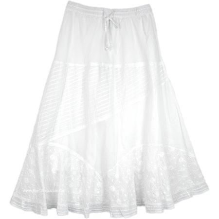Embroidered White Summer Cotton Skirt Spring Embroidered Skirt