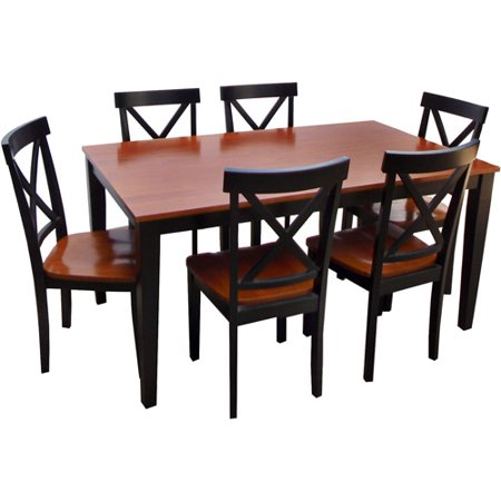 cross back 7 piece dining set black and cherry