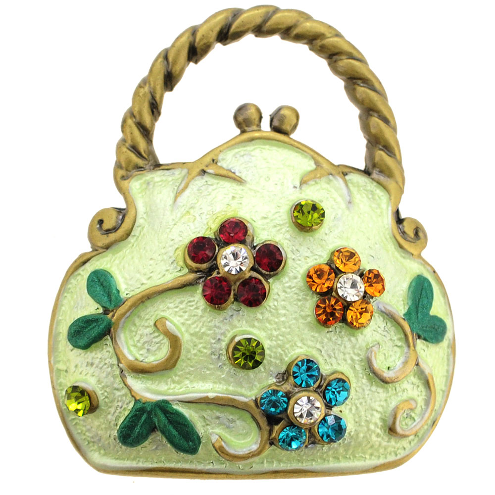 Light Green Flower Handbag Pin Brooch by