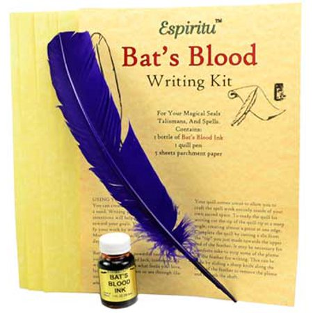Party Games Accessories Halloween Séance Spell Writing Kit Parchment Paper Bats Blood Ink Purple Feather - True Blood Halloween Party 2017