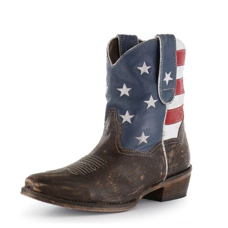 Roper Western Boots Womens Ankle USA Flag Brown 09-021-0977-0102