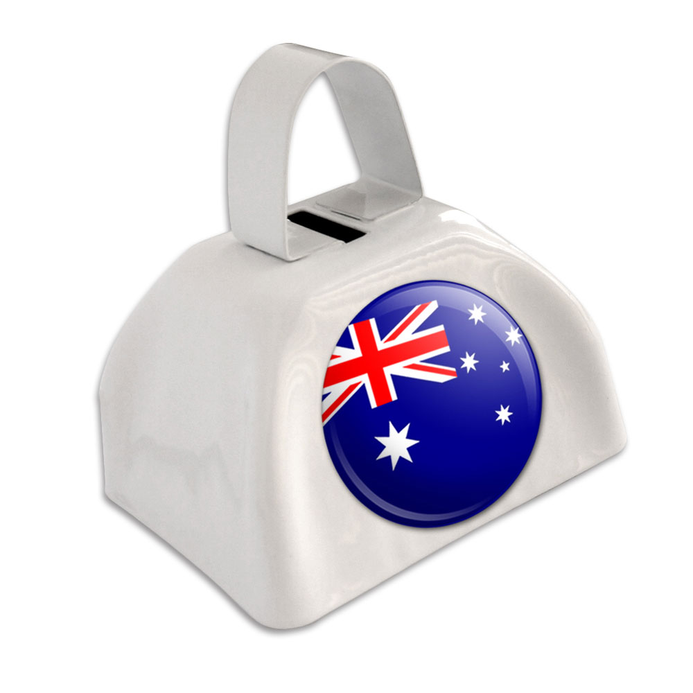 Australia National Country Flag White Cowbell Cow Bell by Graphics and More