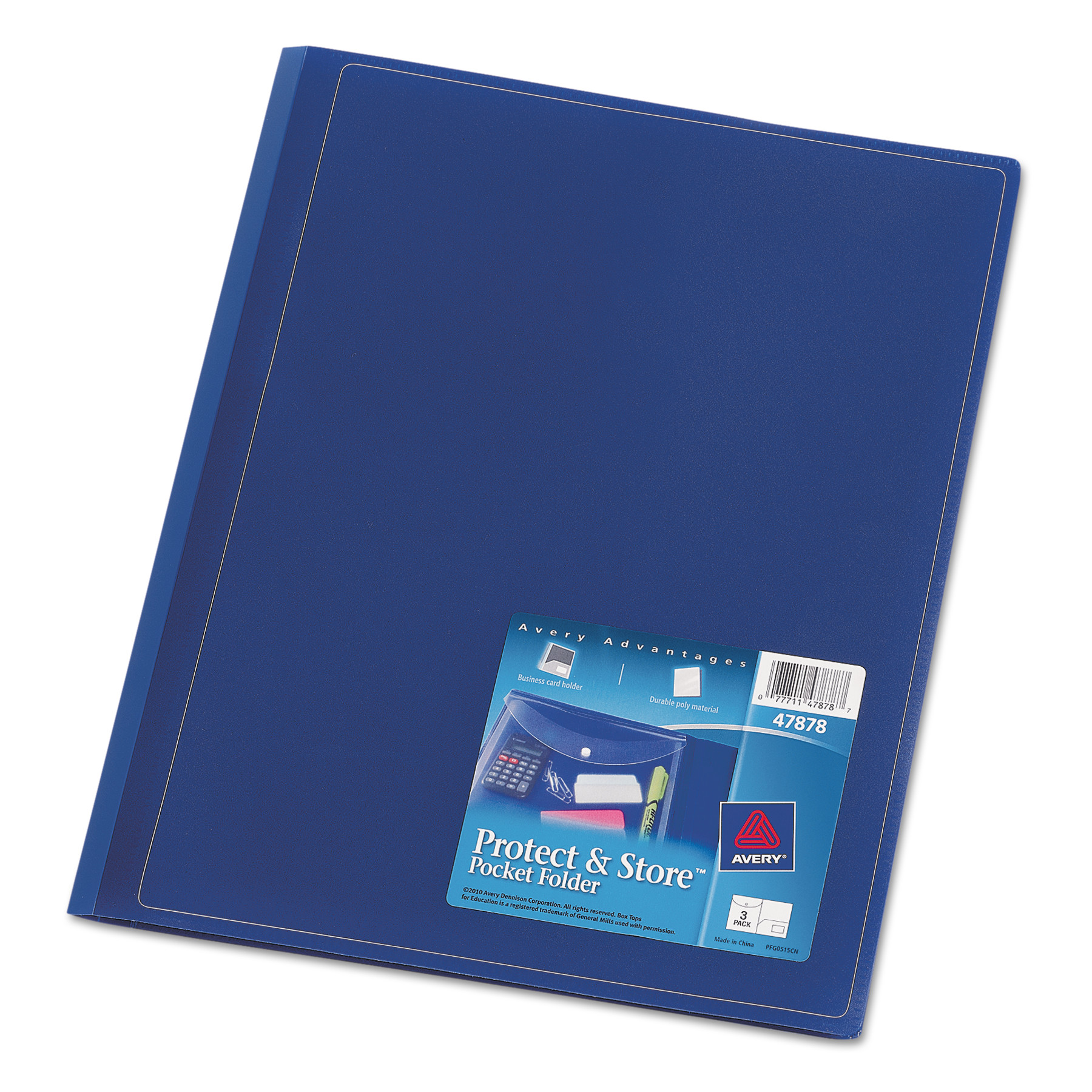 Avery Protect & Store Pocket Folder, Sealed Envelope with Clasp, Navy, 3/Pack