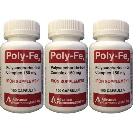 Polysaccharide Fer Complex 150 mg Capsules Supplément de fer 100 capsules par bouteille de 3 PACK
