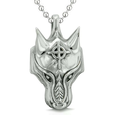 Courage Wise Wolf Celtic Viking Cross Energy Charm Amulet Magical Brave Powers Pendant 18 Inch (Ceramic Celtic Cross)