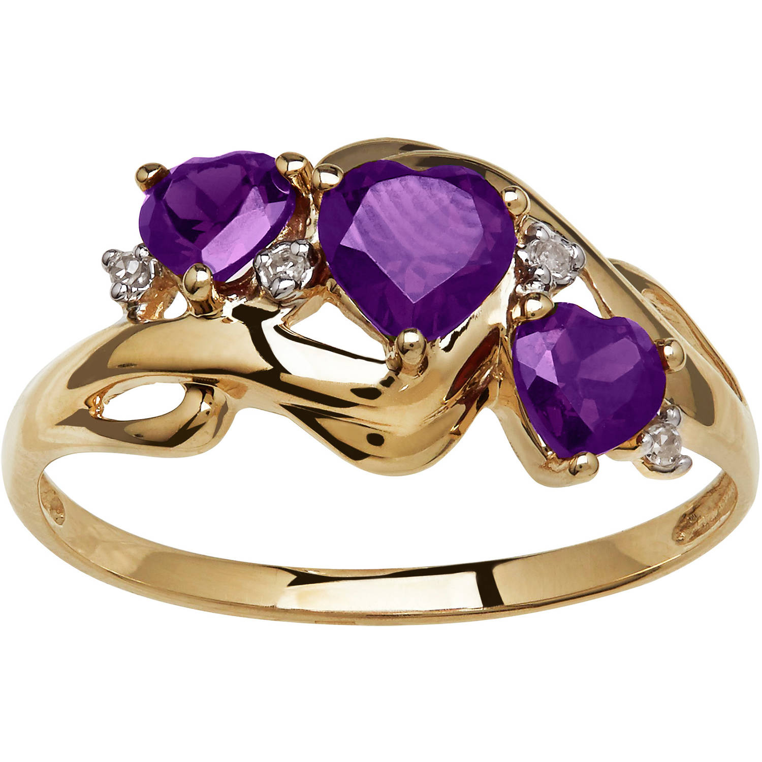 Simply Gold Gemstone Threestone Heart-Shaped Amethyst with Diamond Accent 10kt Yellow Gold Ring, Size 7