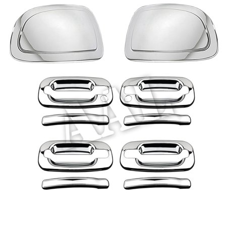 AAL Premium Chrome Cover Combo For CHEVY 2000 2001 2002 2003 2004 2005 2006 TAHOE 4 Doors HANDLE With Passenger Side Keyhole+2PCS MIRROR CAP