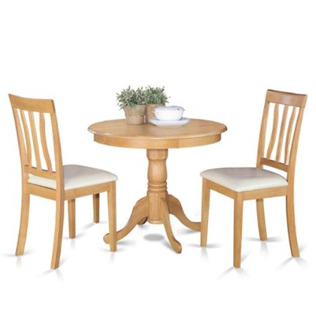 Oak Small Kitchen Table Plus 2 Chairs 3-piece Dining Set Faux leather