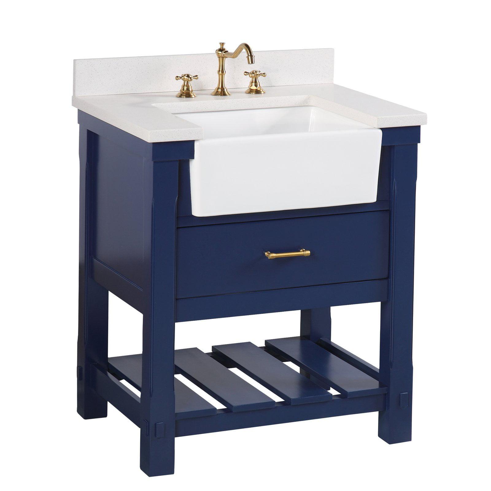 "Charlotte 30"" Royal Blue Farmhouse Bathroom Vanity with ..."