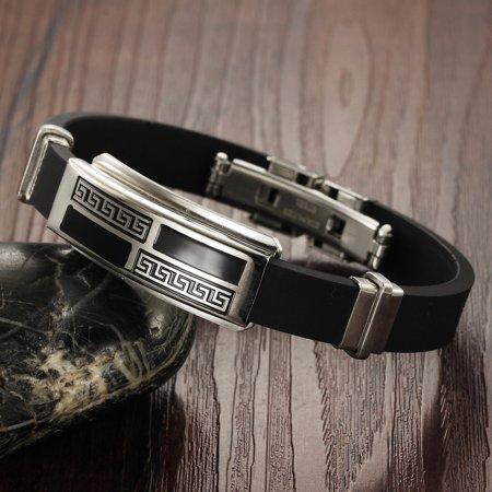 Stainless Steel Silver Greek Key Tag Bracelet Adjustable Men