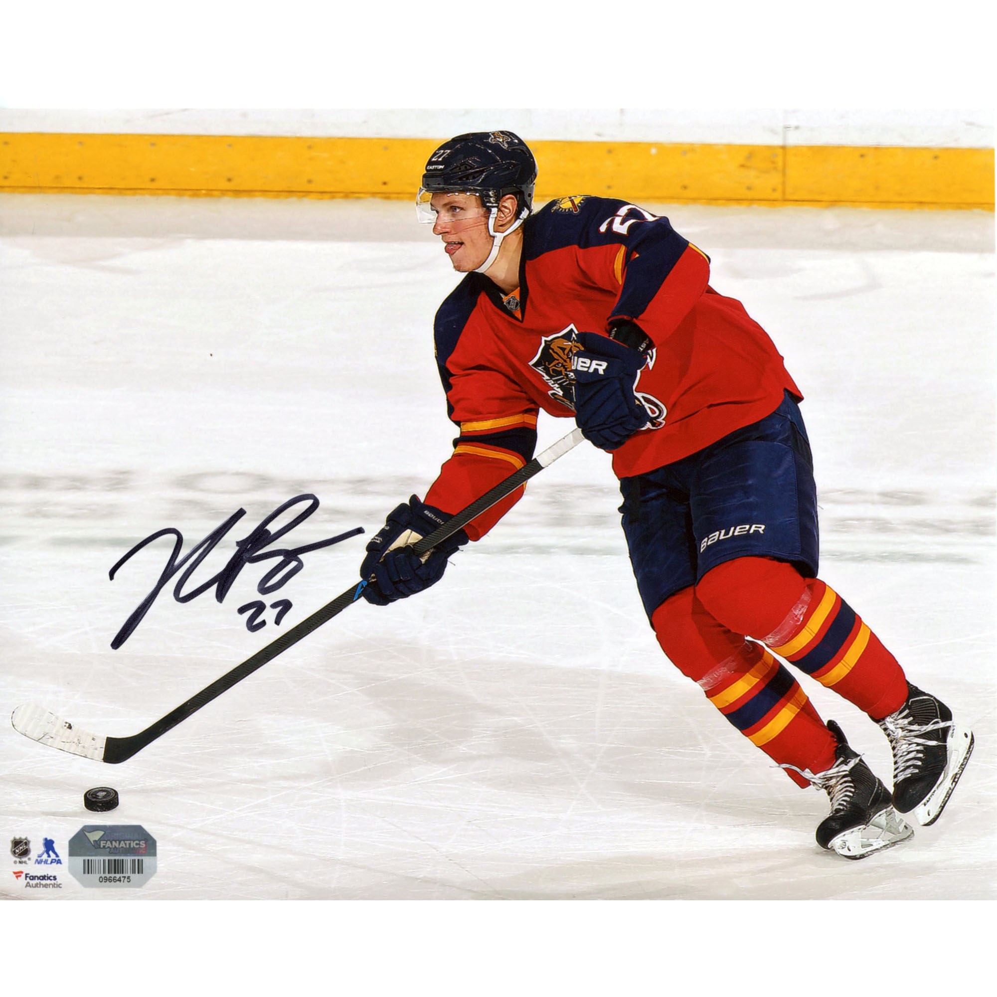 """Nick Bjugstad Florida Panthers Fanatics Authentic Autographed 8"""" x 10"""" Red Jersey Skating With Puck Photograph - No Size"""
