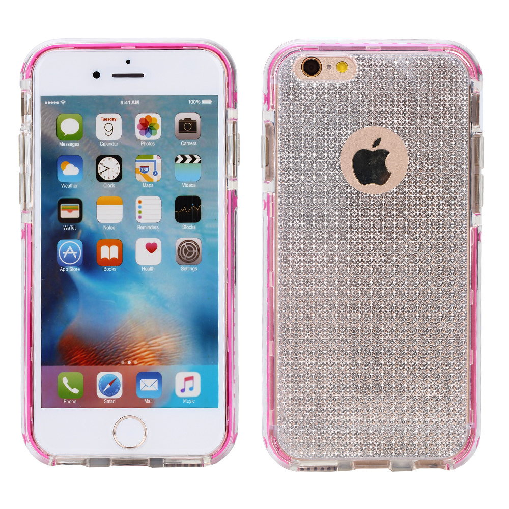 Hybrid Pink Bumper Clear Glitter For iPhone SE 5S 5 Advanced Ultra Shock Proof Lightweight case Drop Protective Case Cover TPU Case Shock Absorb Enhanced Bumper Case Dual Layer Designer Case