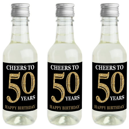 Adult 50th Birthday - Gold - Mini Wine and Champagne Bottle Label Stickers - Birthday Party Favor Gift for Women and Men - Wine Party Favors