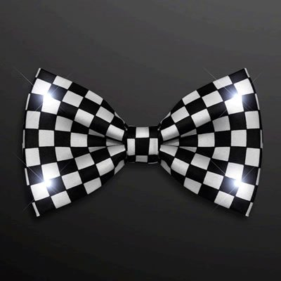 Black and White Checkered Bow Tie with White LED Lights by Blinkee - Led Bowtie