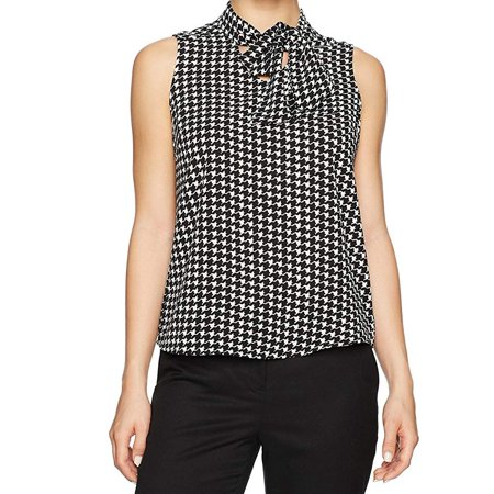 Womens Small Petite Houndstooth Neck Tie Blouse PS