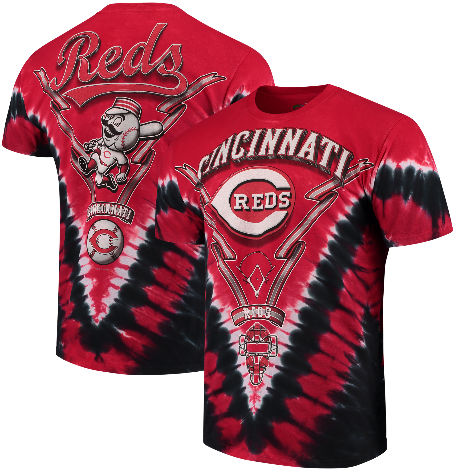 Cincinnati Reds V Tie-Dye T-Shirt - Red/Black