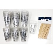50x 10-ounce Disposable Graduated Clear Plastic Cups for Mixing Paint, Stain, Epoxy, Resin & 20x Pixiss Stix Mixing Sticks