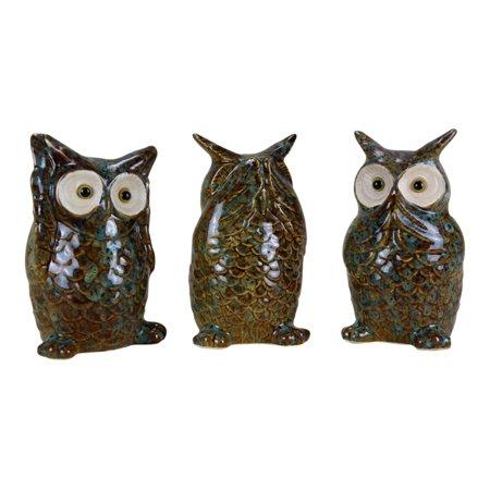 See hear speak no evil owls ceramic tabletop accent decor figurines set of 3 - Hear no evil owls ceramic ...