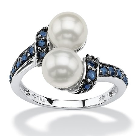 .79 TCW Midnight Blue Genuine Sapphire and Freshwater Pearl Platinum over Sterling Silver (Midnight Pearl)