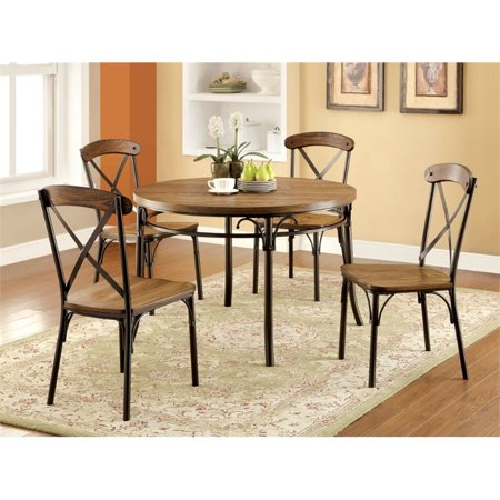 Furniture of America Wagner Round Dining Table in Bronze Breeze Dining Table